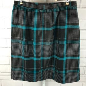 Vintage wool blend plaid skirt sz 12 gray/blue